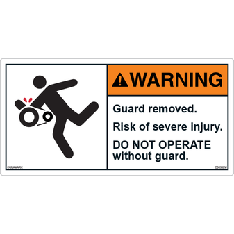 ANSI Safety Label - Warning - Guard Removed