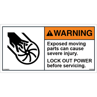 ANSI Safety Label - Warning - Lock out - Before Servicing