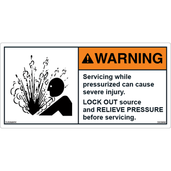 ANSI Safety Label - Warning - Relieve Pressure
