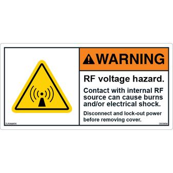 ANSI Safety Label - Warning - RF Voltage Hazard