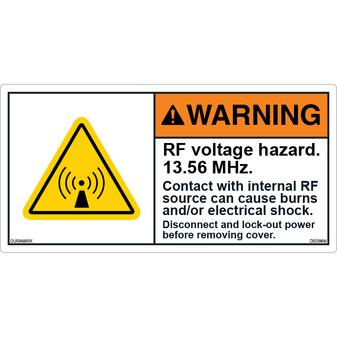 ANSI Safety Label - Warning - RF Voltage Hazard - 13.56 MHz