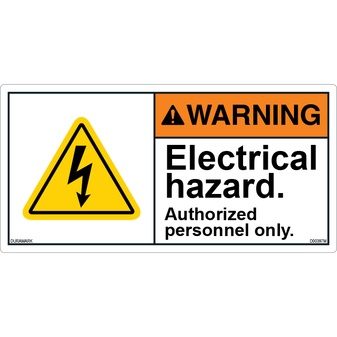 ANSI Safety Label - Warning - Electrical Hazard - Authorized Personnel