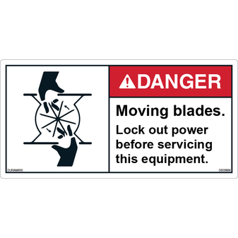 ANSI Safety Label - Danger - Moving Blades