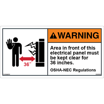 ANSI Safety Label - Warning - 36 Inches - OSHA-NEC