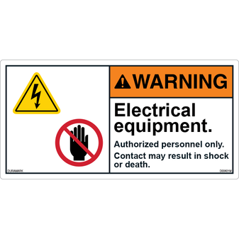 ANSI Safety Label - Warning - Electrical Equipment
