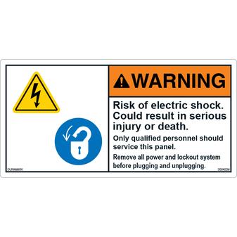 ANSI Safety Label - Warning - Risk Of Electric Shock