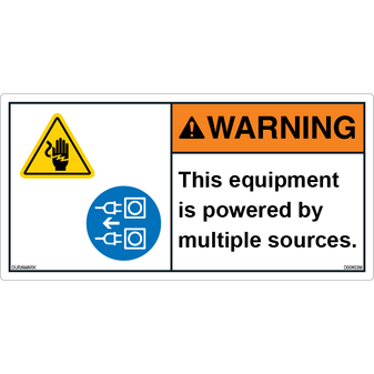 ANSI Safety Label - Warning - Equipment Is Powered