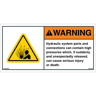 ANSI Safety Label - Warning - Hydraulic System Parts