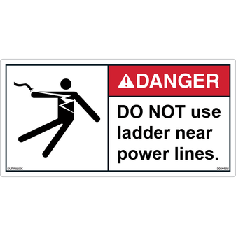 ANSI Safety Label - Danger - Do Not Use Ladder