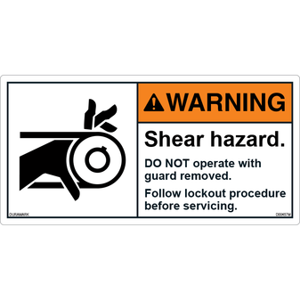 ANSI Safety Label - Warning - Roller - Shear Hazard