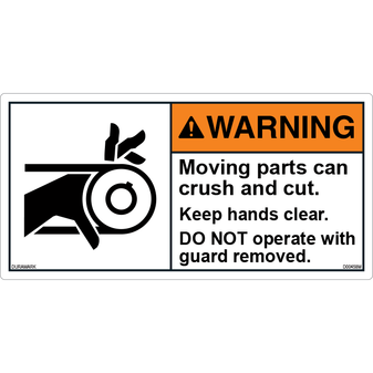 ANSI Safety Label - Warning - Roller - Crush And Cut - Keep Hands Clear