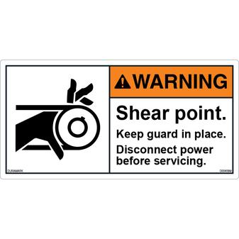 ANSI Safety Label - Warning - Roller - Shear Point