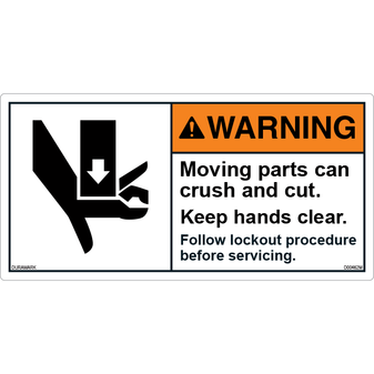 ANSI Safety Label - Warning - Keep Hands Clear
