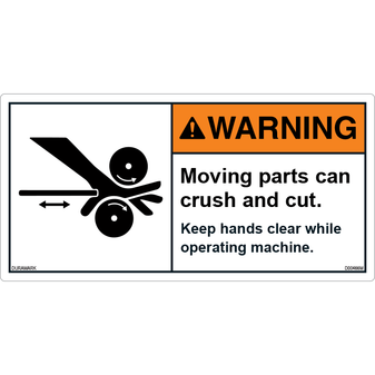 ANSI Safety Label - Warning - Crush And Cut - Keep Hands Clear