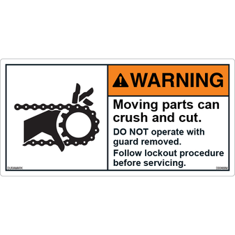 ANSI Safety Label - Warning - Chain - Crush And Cut - Lockout