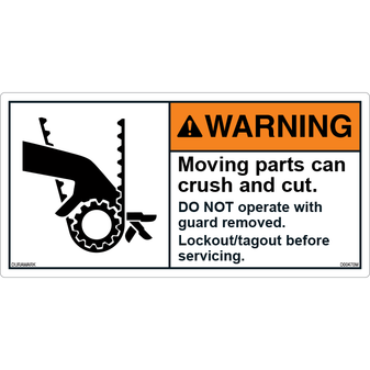 ANSI Safety Label - Warning - Belt - Crush And Cut - Lockout/Tagout