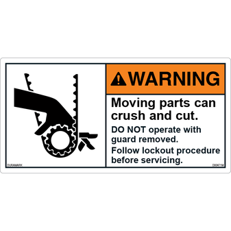 ANSI Safety Label - Warning - Belt - Crush And Cut - Lockout