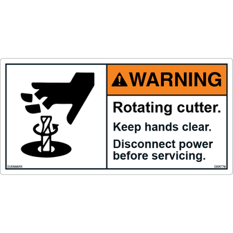 ANSI Safety Label - Warning - Rotating Cutter