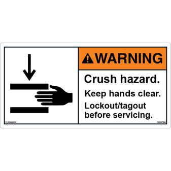 ANSI Safety Label - Warning - Crush Hazard - Lockout/Tagout