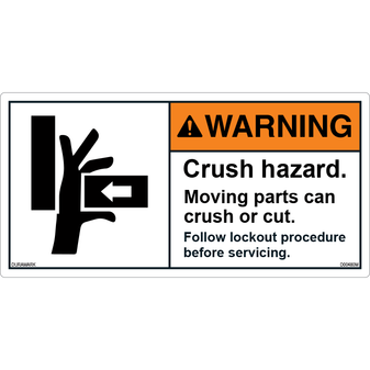ANSI Safety Label - Warning - Crush Hazard - Lockout