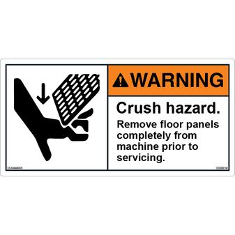 ANSI Safety Label - Warning - Crush Hazard - Floor Panels