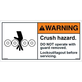 ANSI Safety Label - Warning - Crush Hazard - Do Not Operate