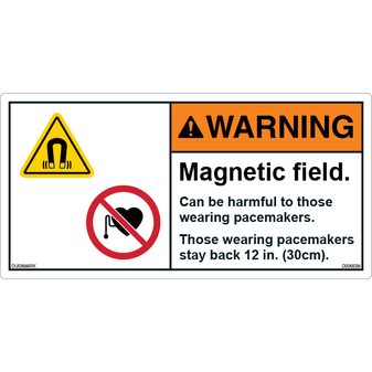 ANSI Safety Label - Warning - Magnetic Field - Stay Back 12 in