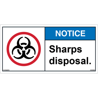 ANSI Safety Label - Notice - Sharps Disposal