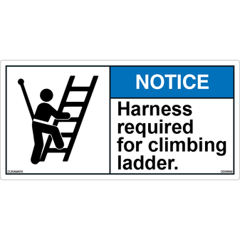 ANSI Safety Label - Notice - Harness Required