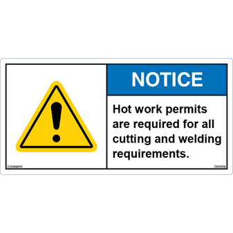 ANSI Safety Label - Notice - Work Permits