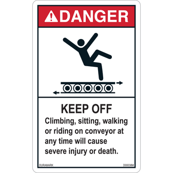 ANSI Safety Label - Danger - Conveyor Safety - Climbing/Sitting/Walking/Riding - Roller