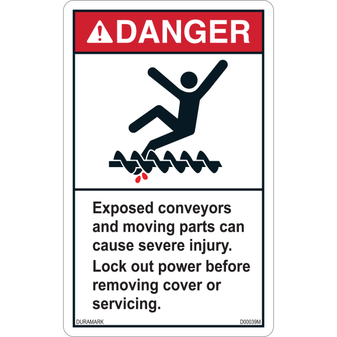 ANSI Safety Label - Danger - Conveyor Safety - Exposed Conveyors/Moving Parts