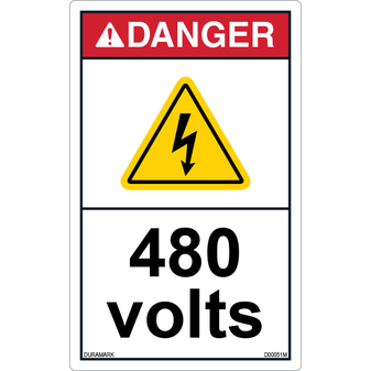 ANSI Safety Label - Danger - Electric Shock - 480 Volts - Vertical