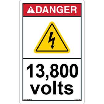 ANSI Safety Label - Danger - Electric Shock - 13800 Volts - Vertical