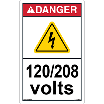 ANSI Safety Label - Danger - Electric Shock - 120/208 Volts - Vertical