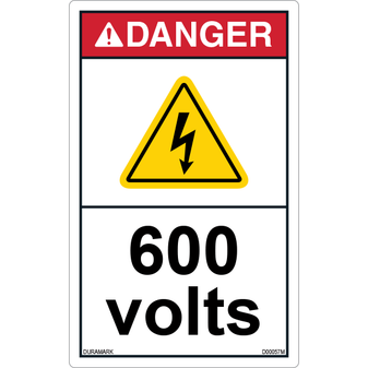 ANSI Safety Label - Danger - Electric Shock - 600 Volts - Vertical