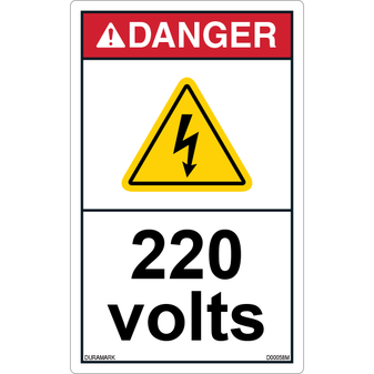 ANSI Safety Label - Danger - Electric Shock - 220 Volts - Vertical