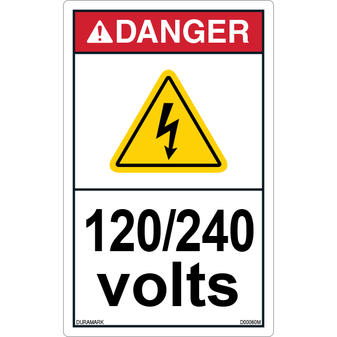 ANSI Safety Label - Danger - Electric Shock - 120/240 Volts - Vertical