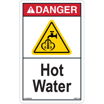 ANSI Safety Label - Danger - Hot Water