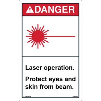 ANSI Safety Label - Danger - Laser Operation - Protect Eyes and Skin - Vertical
