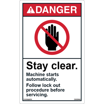 ANSI Safety Label - Danger - Stay Clear - Machine Starts Automatically - Lockout - Vertical