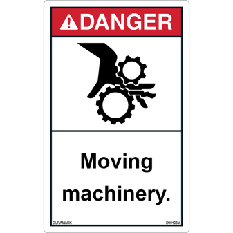 ANSI Safety Label - Danger - Moving Machinery - Vertical