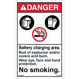 ANSI Safety Label - Danger - No Smoking - Battery Charging Area - Vertical