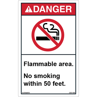 ANSI Safety Label - Danger - No Smoking - Flammable Area - Vertical