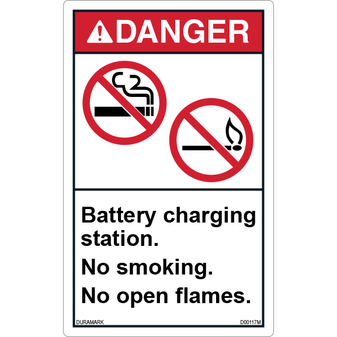 ANSI Safety Label - Danger - No Smoking/No Open Flames - Battery Charging Station - Vertical