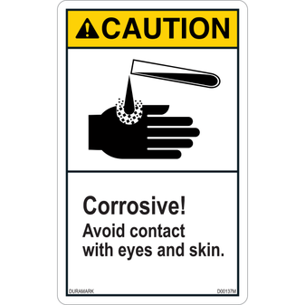 ANSI Safety Label - Caution - Chemical Safety - Corrosive - Vertical