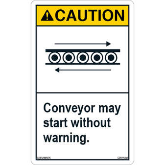 ANSI Safety Label - Caution - Conveyor Safety - May Start Without Warning - Vertical