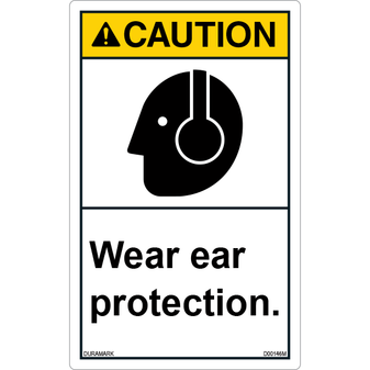 ANSI Safety Label - Caution - Wear Ear Protection - Vertical