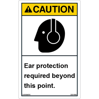 ANSI Safety Label - Caution - Ear Protection Required Beyond This Point - Vertical