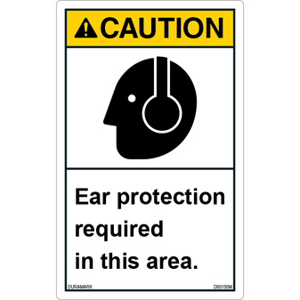 ANSI Safety Label - Caution - Ear Protection Required - Vertical